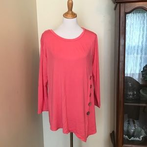 Asymmetrical tunic top with button accents